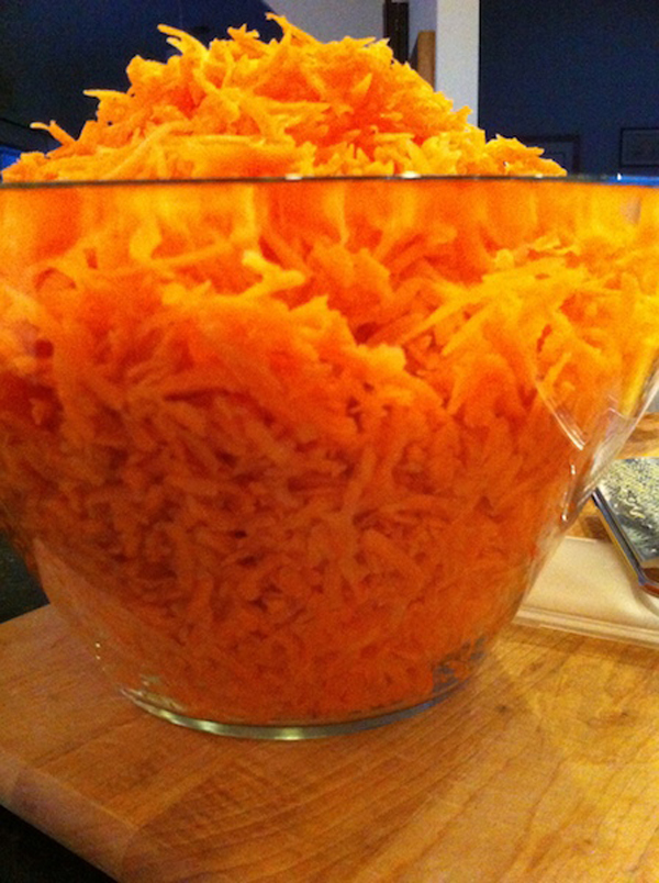Shredded carrots for Carrot Jam, Adventures in the Kitchen with Michelle, Carrots at Christmas