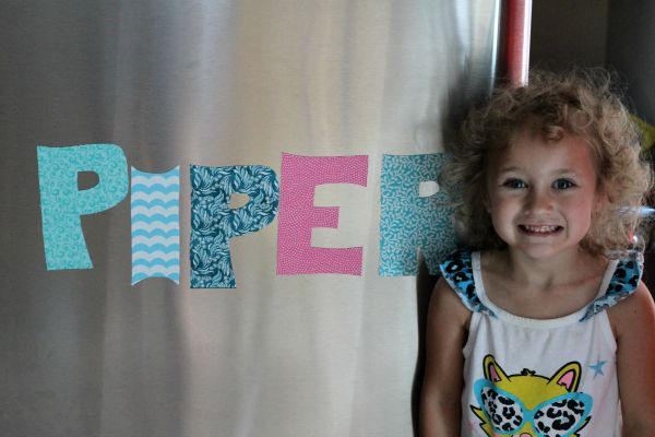 Easy and fun DIY making magnetic letters with adhesive magnet and fabric